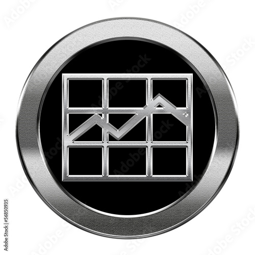graph icon silver, isolated on white background.