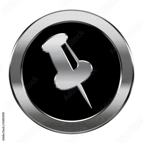 thumbtack icon silver, isolated on white background.