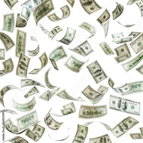Falling money, hundred dollar bills