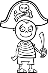 boy in pirate costume coloring page