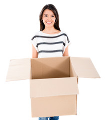 Happy woman holding a box