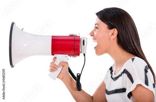 Woman yelling through a loudspeaker