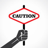 caution placard hold in hand stock vector