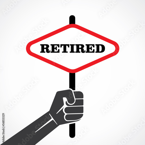 retired banner hold in hand stock vector