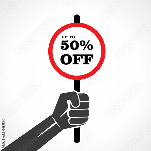 50% off placard hold in hand stock vector