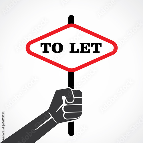 To let placard hold in hand stock vector