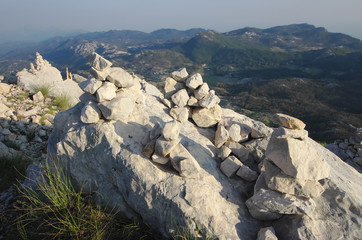 Stacked Stones In Njegos's Mausoleum, Montenegro