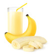 Banana shake isolated on white