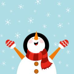 Snowman Enjoying Snow