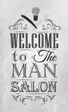 Poster Barbershop welcome to the man salon in a retro style and  poster