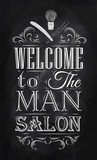 Poster Barbershop welcome to the man salon in a retro style and