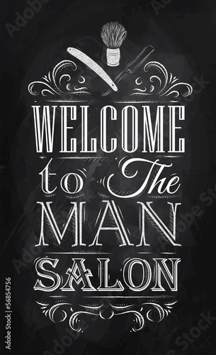 Poster Barbershop welcome to the man salon in a retro style and  - 56854756