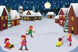 Fototapety Kids playing in a winter wonderland