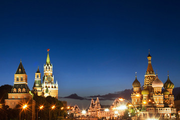 night view of Moscow, Red square and St. Basil cathedral