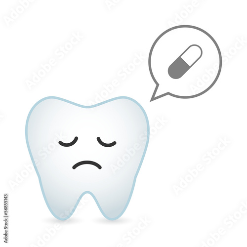 Tooth illustration with comic balloon