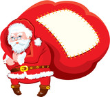 Cartoon Santa Claus with huge sack full of gifts - Christmas and