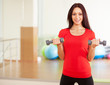 Young fit lady with dumbbells