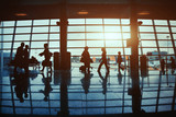 business travel, silhouettes of  people in  airport