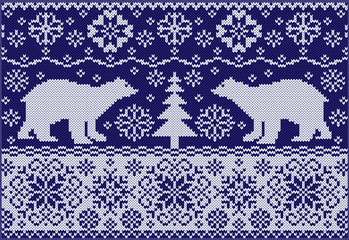 Knitted ornament with white bears. Northern pattern.