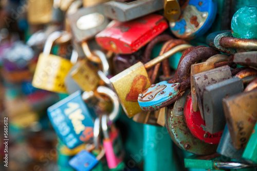Lots of locks on a bridge