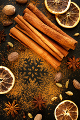 Christmas spices:  star anise, cinnamon and cardamom