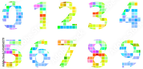 Colorful Modern Square Mosaic Numbers