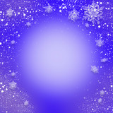 Blue abstract Christmas background with snowflakes falling