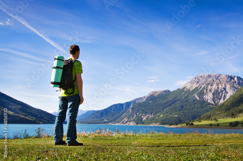 ready to travel, backpacker - photo with place for the text