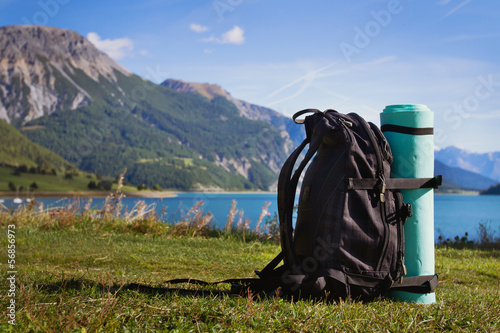 backpack on the mountain background