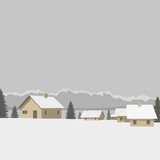 Winter mountain village background, vector illustration