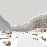 Winter mountain background, vector illustration