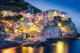 Fototapety Scenic night view of colorful village Manarola in Cinque Terre