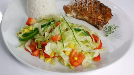 grilled meat with rice and vegetable