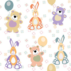vector seamless pattern with bears and rabbits for baby