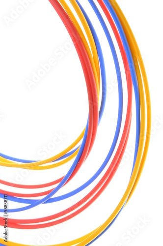 Colored wires used in electrical and computer networks