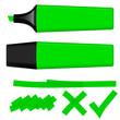 Textmarker grün mit Markierungen