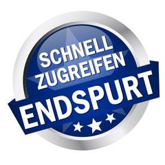 """Button mit Banner """" SCHNELL ZUGREIFEN ENDSPURT """""""