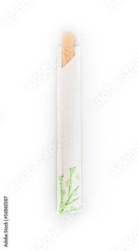 top view of disposable chopsticks isolated on a white background