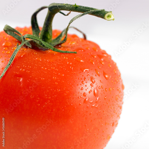 close-up of a red tomato isolated on a white background