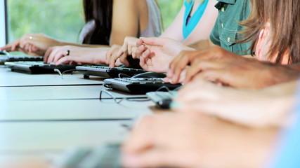 Hands Class IT Studies Multi Ethnic Teenagers