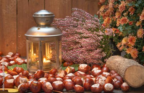 Laterne und Kastanien herbstlich dekoriert