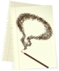 Pencil sketched bubble. Vector.