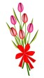 Lovely Fresh Tulip Bouquet with Red Ribbon