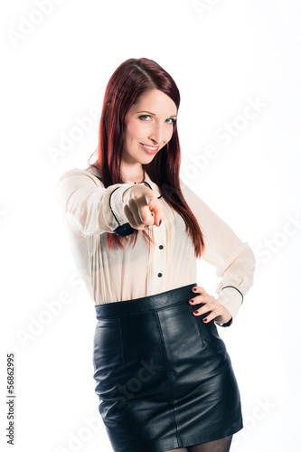 Young woman with white background wants you