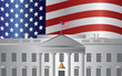 Washington DC White House US Flag Background Vector Illustration