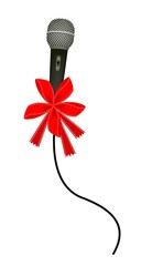 Modern Microphone with Red Ribbon