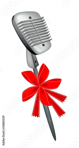 Retro Microphone with Red Ribbon