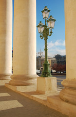 Street lamp near the colonnade of Bolshoi theatre