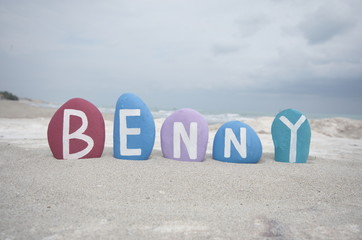 Benny, male name on colourful stones