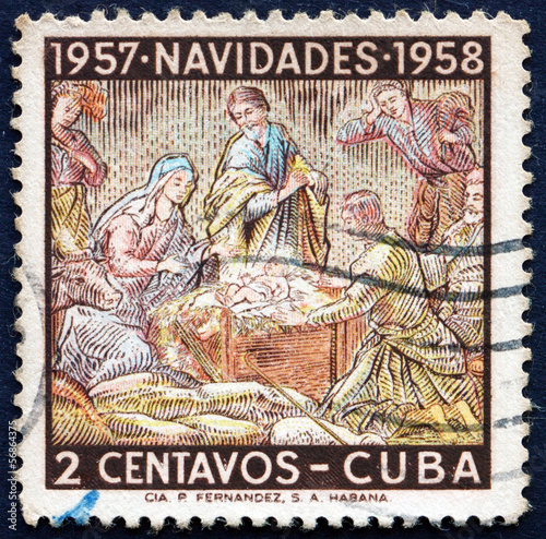Postage stamp Cuba 1957 Holy Family, Christmas 1957